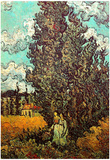Vincent Van Gogh Cypresses and Two Women Art Print Poster Prints