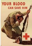 Your Blood Can Save Him WWII War Propaganda Art Print Poster Masterprint