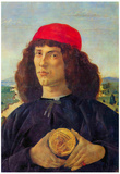 Sandro Botticelli Portrait of a Man with a Medal of Cosimo the Elder Art Print Poster Prints