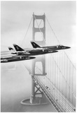 US Navy Blue Angels Over Golden Gate Bridge Archival Photo Poster Posters