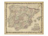 Johnson's Map of Spain & Portugal Umělecké plakáty