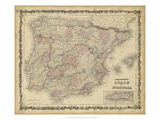 Johnson's Map of Spain & Portugal Giclee Print