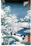 Utagawa Hiroshige (Drum Bridge at Meguro) Art Poster Print Masterprint