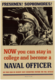Now You Can Stay in College and Become a Naval Officer WWII War Propaganda Art Print Poster Poster