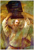 Rembrandt Harmensz. van Rijn (Moses with the bill boards) Art Poster Print Posters