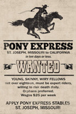 Pony Express Replica Recruitment Advertisement Print Poster Masterprint