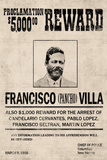 Pancho Villa Wanted Advertisement Print Poster Masterprint