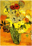 Vincent Van Gogh Still Life Japanese Vase Roses and Anemones Art Print Poster Poster