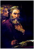 Rembrandt Evangelist Mathew and the Angel Art Print Poster Posters
