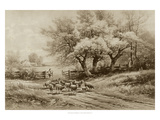 Herding Sheep Schilderij van Carl Weber