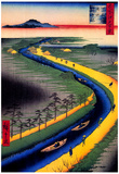 Utagawa Hiroshige Towboats Along the Yotsugi River Art Print Poster Photo