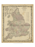 Johnson's Map of England & Wales Plakaty