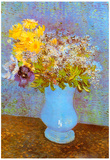 Vincent Van Gogh Vase with Lilacs Daisies and Anemones Art Print Poster Posters