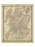 Johnson's Map of Scotland Reproduction procédé giclée