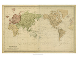 The World on Mercators Projection Giclee Print by Vision Studio