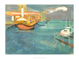 Boats in Harbor I Posters by George Lambert
