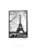 Eiffel Tower Along the Seine River Giclee Print by Laura Denardo
