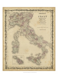 Johnson's Map of Italy Plakater