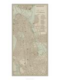 Tinted Map of Boston Plakaty