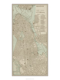 Tinted Map of Boston Giclee Print