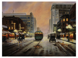 Night Lights Premium Giclee Print by Leo Stans