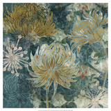 Navy Chrysanthemums II Print by Maria Woods