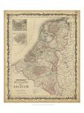Johnson's Map of Holland & Belgium Plakaty