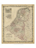 Johnson&#39;s Map of Holland &amp; Belgium Giclee Print