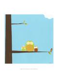 Treetop Owls III Premium giclée print van Erica J. Vess