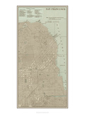 Tinted Map of San Francisco Giclee Print