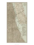 Tinted Map of Chicago Prints