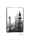 Charles Bridge in Morning Fog I Poster by Laura Denardo