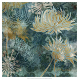 Navy Chrysanthemums I Prints by Maria Woods