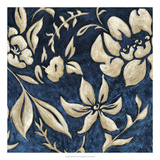 Indigo and Cream Brocade II Prints by Chariklia Zarris