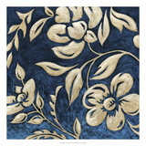Indigo and Cream Brocade I Posters by Chariklia Zarris