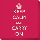 Keep Calm and Carry On (Red) Stretched Canvas Print