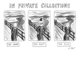"Three alternate versions of Edward Munch's ""The Scream"": ""The Yawn,"" ""The … - New Yorker Cartoon Premium Giclee Print by Roz Chast"