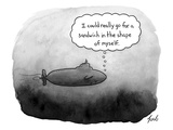 """Thought bubble: """"I could really go for a sandwich in the shape of myself."""" - New Yorker Cartoon Premium Giclee Print by Tom Toro"""