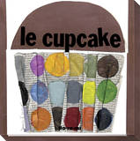 Le Cupcake Dots on Newsprint Stretched Canvas Print by  KOCO
