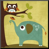Owl and Elephant Mounted Print by Nancy Lee