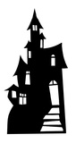 Small Haunted House Silhouette Cardboard Cutouts