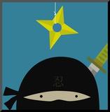 Peek-a-Boo Heroes: Ninja Mounted Print by Yuko Lau