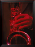 Close-up of Man Playing Saxophone in Jazz Club Framed Photographic Print by Gary Conner