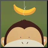 Peek-a-Boo X, Monkey Mounted Print by Yuko Lau
