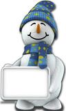 Snowman with Sign Silhouette en carton