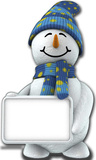 Snowman with Sign Board Lifesize Standup Pappfigurer