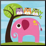 Elephant with Three Owls Mounted Print by Nancy Lee