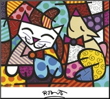 Happy Cat and Snob Dog Mounted Print by Romero Britto