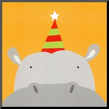 Peek-a-Boo VIII, Hippo Mounted Print by Yuko Lau
