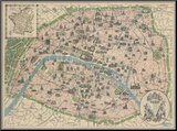 Vintage Paris Map Mounted Print